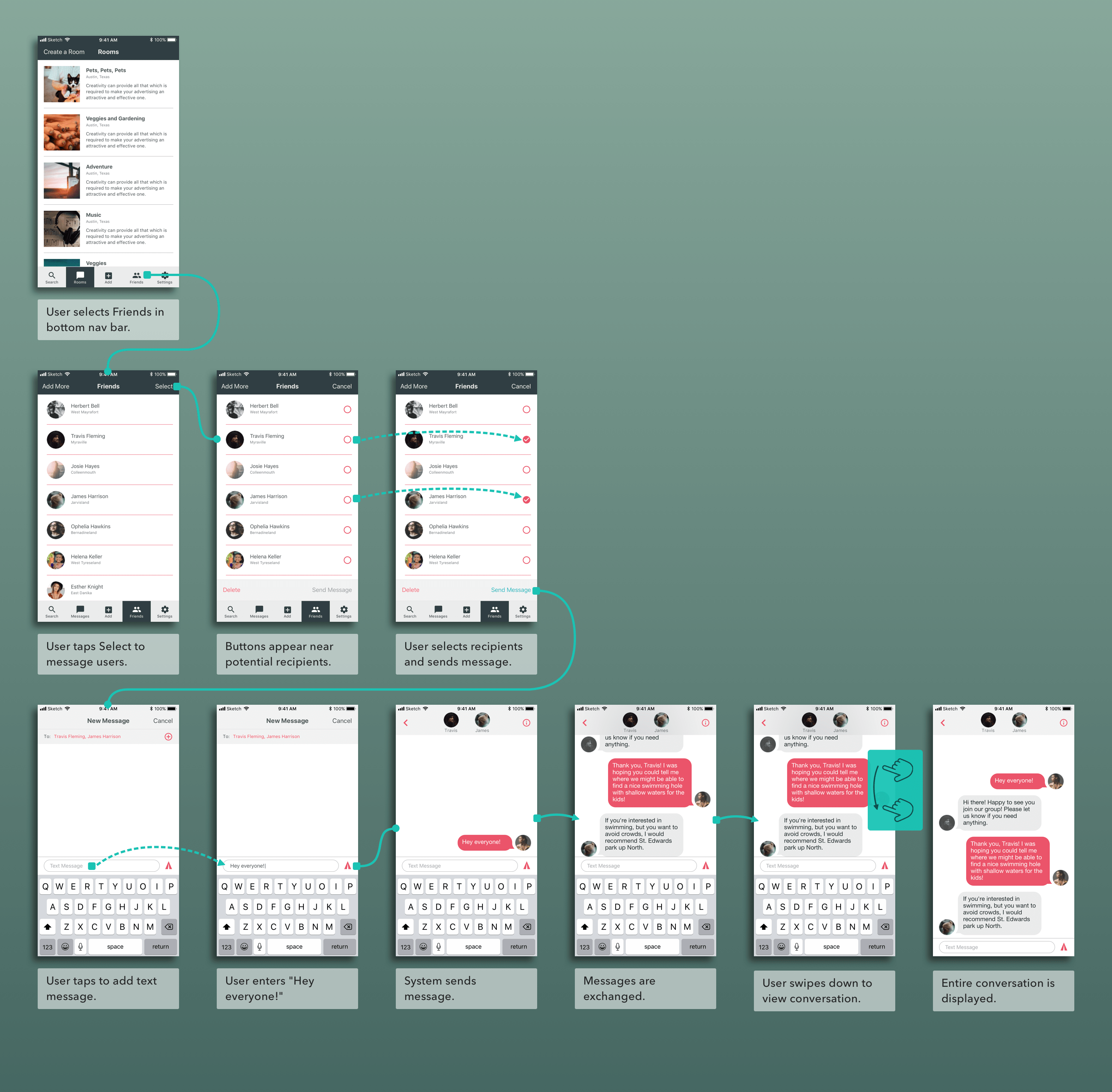 wireframe demonstrating how users might chat with select users